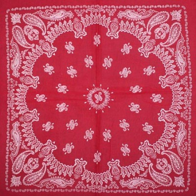 Бандана красная с белыми узорами1
