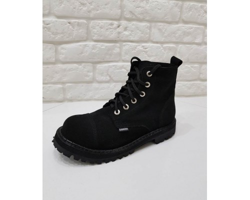 """Ботинки Ranger 6 колец """" Black """" Замша Winter"""