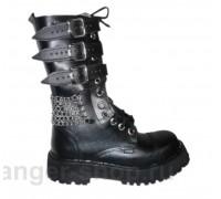 """Ботинки Ranger 12 колец """"Black """" 3ремня и цепи 1"""