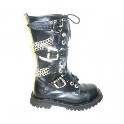 """Ботинки Ranger 12 колец """"Black """"3 ремня и цепи 2"""
