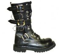 """Ботинки Ranger 12 колец """"Black """" 3 ремня и кольца"""