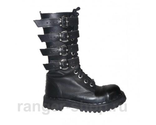 """Ботинки Ranger 12 колец """"Black """" 4 ремня"""