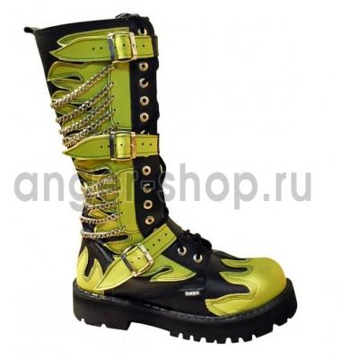 """Ботинки Ranger 16 колец """" Fire Салатовые """" 3 ремня и цепи"""