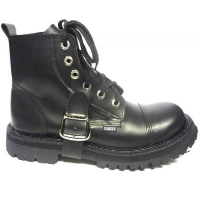"""Ботинки Ranger 6 колец  """"Black """" 1 ремень внизу"""