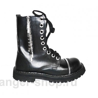"Ботинки Ranger 9колец ""Black Zipper """