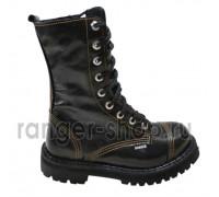"""Ботинки Ranger 9 колец """"""""Black """" Черный лак+ оранжевая нитка"""