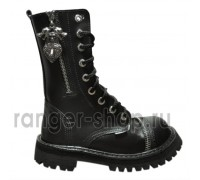 "Ботинки Ranger 9 колец ""Black"" Молния+Волк"