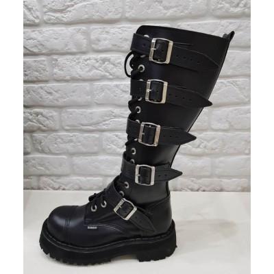 """Ботинки Ranger 16 колец """"Black """" 5 ремней"""