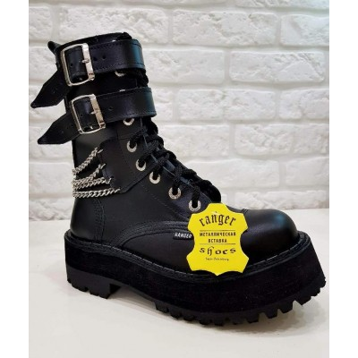"""Ботинки Ranger 9 колец """"Black """" 2 ремня и цепи"""
