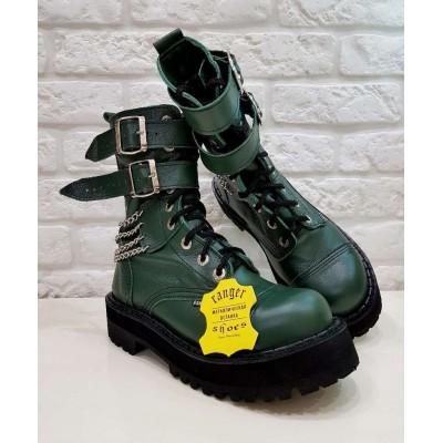 """Ботинки Ranger 9 колец 2ремня и цепи """" Green """""""