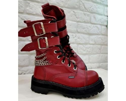 """Ботинки Ranger """"Red """"2 ремня и цепи"""